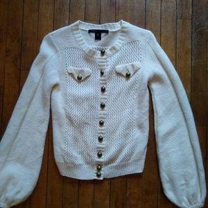 Marc Jacobs Cream Bell Sleeve Cardigan Sweater Sm
